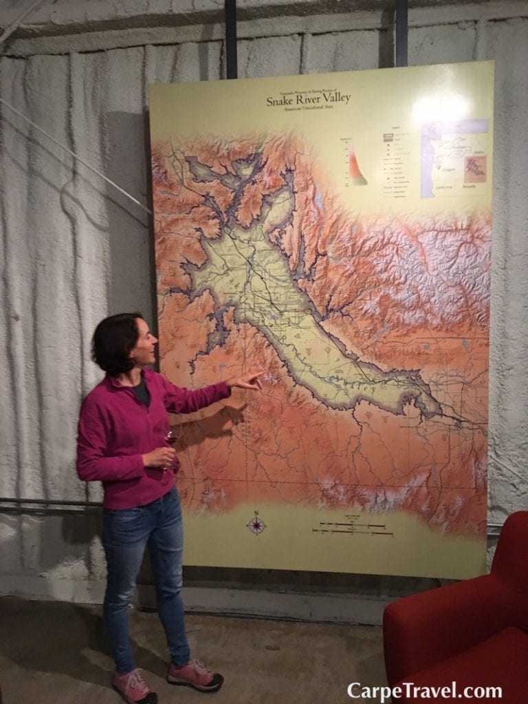 Melanie Krause, the winemaker at Cinder Wines explaining the complexity of the Snake River Valley AVA.